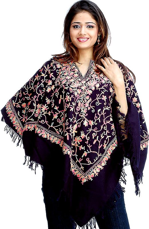 Midnight-Blue Poncho with Jaal Ari Embroidery