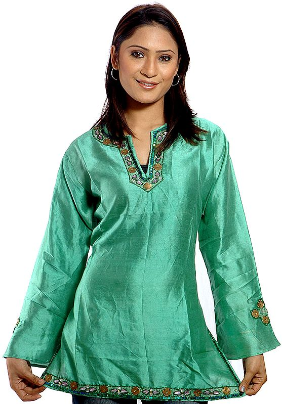 Moss-Green Kashmiri Top with Beadwork