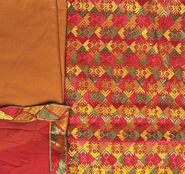 Multi-Color Phulkari Salwar Kameez Fabric From Punjab with Ari Embroidery