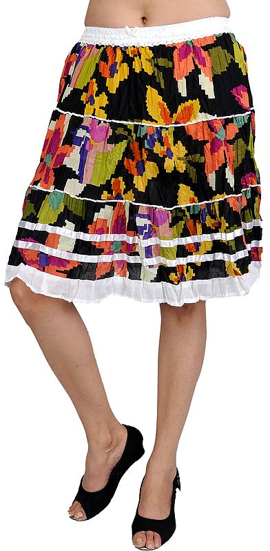 Multi-Color Short Skirt with Floral Print