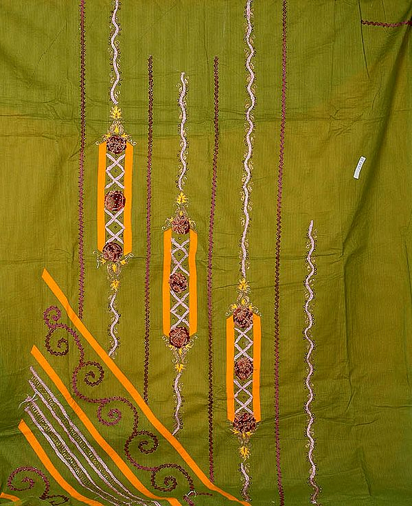 Olive Green and Amber Suit with Beads and Threadwork