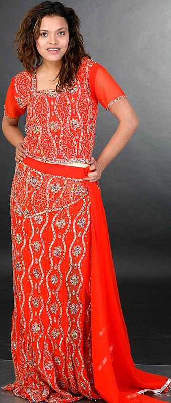 Orange Bridal Lehenga Choli with Beadwork and Sequins