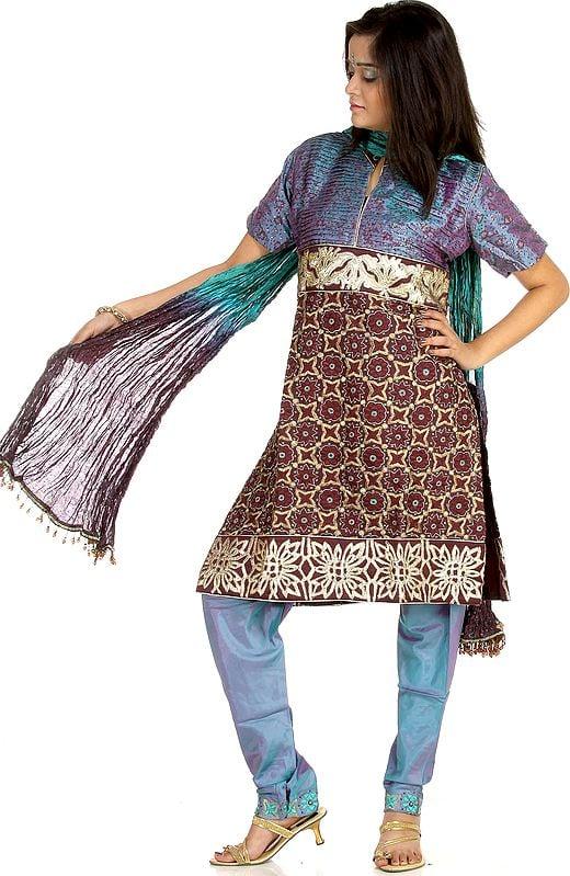 Peacock-Blue Chudidar Salwar Suit with Crewel Embroidery