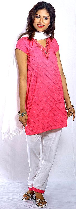 Pink and White Parallel Suit with Sequins
