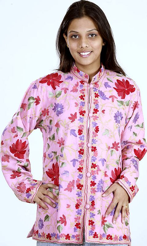Pink Ari Jacket from Kashmiri with Floral Embroidery