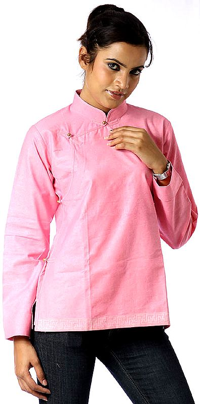 Hot-Pink Banarasi Angarakha Top for Young Ladies