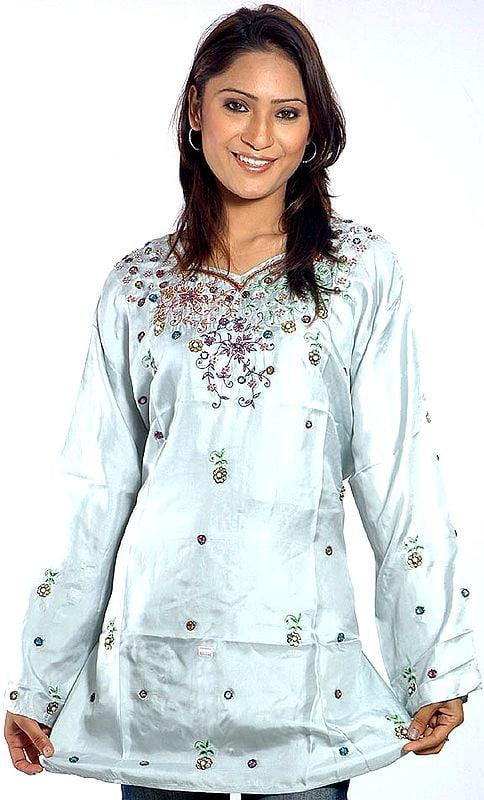 Powder-Blue Kashmiri Kurti Top with Beadwork and Embroidery