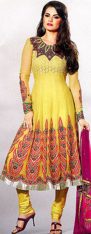 Primrose-Yellow Flaired Chudidar Kameez Suit with Metallic Thread Embroidered Paisleys and Sequins All-Over