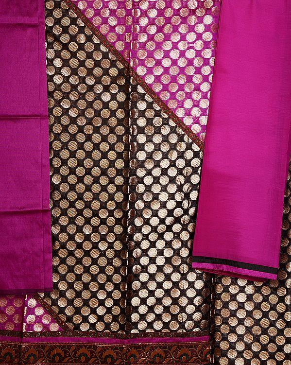 Purple and Black Banarasi Brocaded Salwar Kameez Fabric with Brocaded Circles and Patch Border