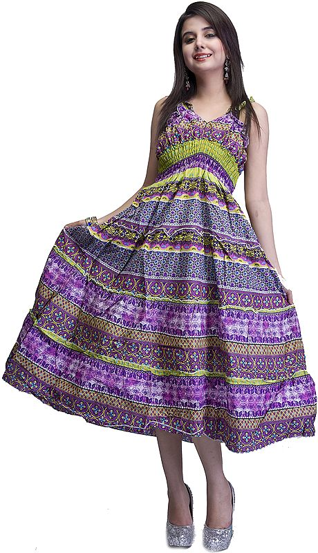 Purple and Green Barbie Dress with Printed Flowers