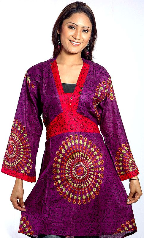 Purple Printed Short Kaftan Top