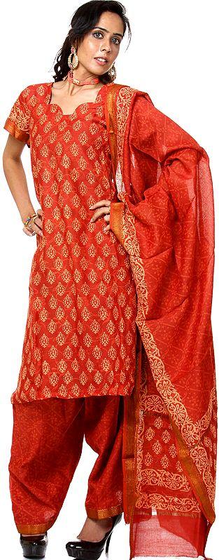Rust Block-Printed Chanderi Salwar Kameez Suit