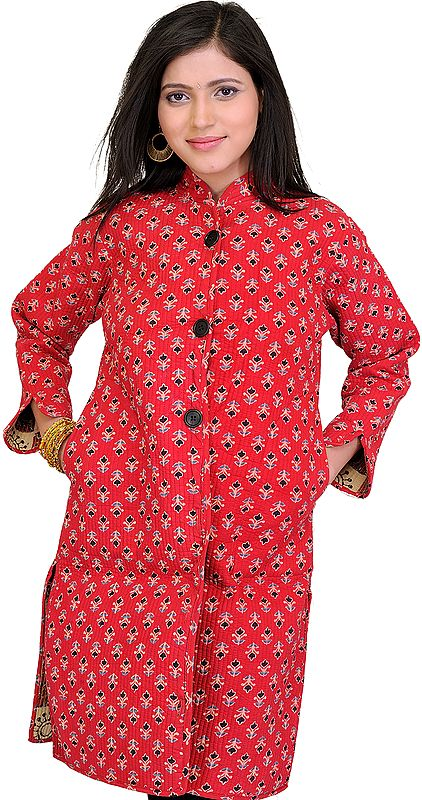 Flame Scarlet-RedJacket from Pilkhuwa with Floral Print and Straight Stitch
