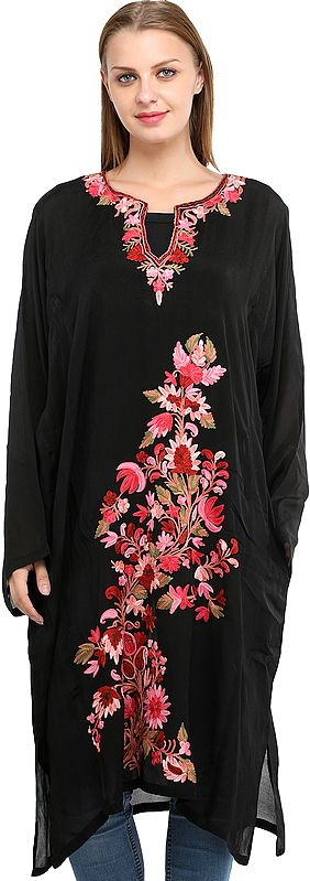 Kashmiri Sheer Phiran with Ari Floral-Embroidery