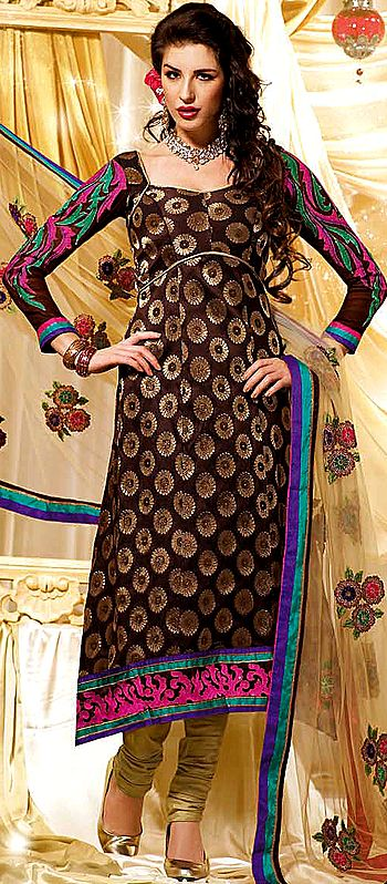 Seal-Brown Designer Chudidar Suit with Brocaded Kameez and Embrodiered Patch Border