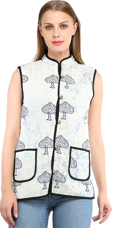 Skyway and Cordovan Reversible Waistcoat from Pilkhuwa with Printed Trees