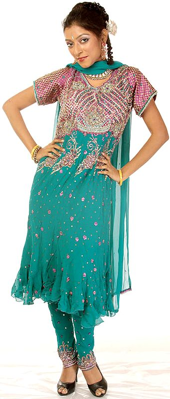 Turquoise Anarkali Suit with Heavily Beaded on Front