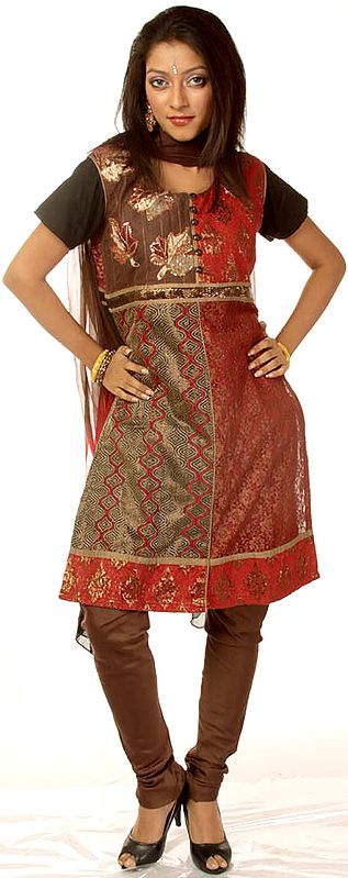Brown and Red Chudidar Suit with Sequined Maple Leaves