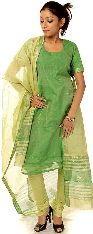 Green Tissue Chanderi Choodidaar Suit with Golden Bootis