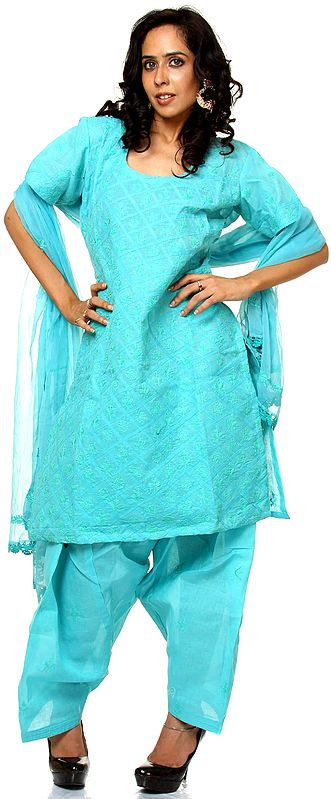 Nile-Blue Choodidaar Suit with Lukhnavi Chikan Embroidery and Applique Work