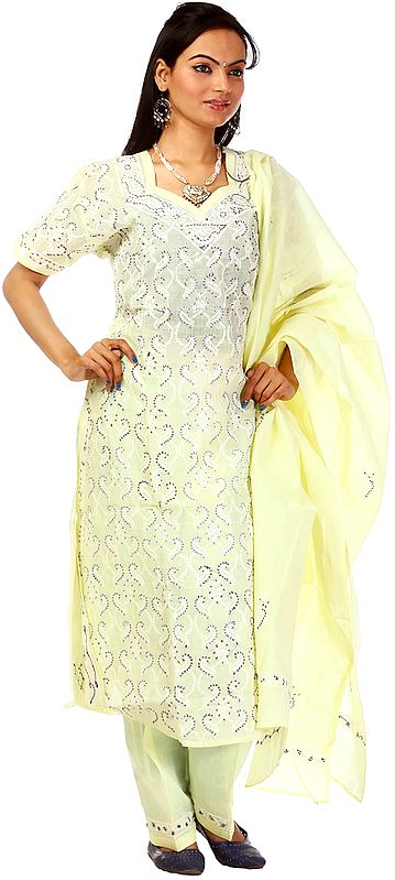 Powder-Yellow Salwar Kameez with Lukhnavi Chikan Embroidery