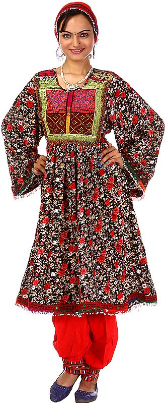 Black and Red Floral Printed Flaired Suit from Afghanistan with Threadwork on Neck