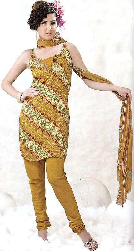 Mustard Choodidaar Printed Suit with Self Weave