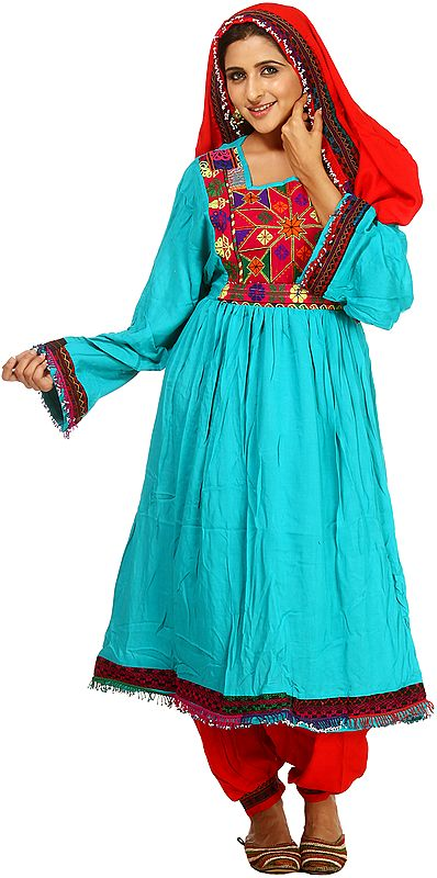 Turquoise and Red Flaired Suit from Afghanistan with Threadwork
