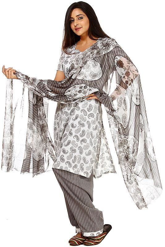 Ivory and Gray Salwar Kameez Suit with Printed Paisleys