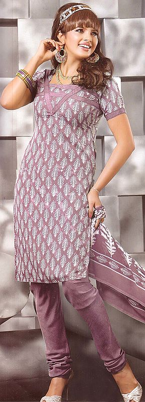 Mauve Salwar Kameez Suit with Self Weave and Printed Bootis