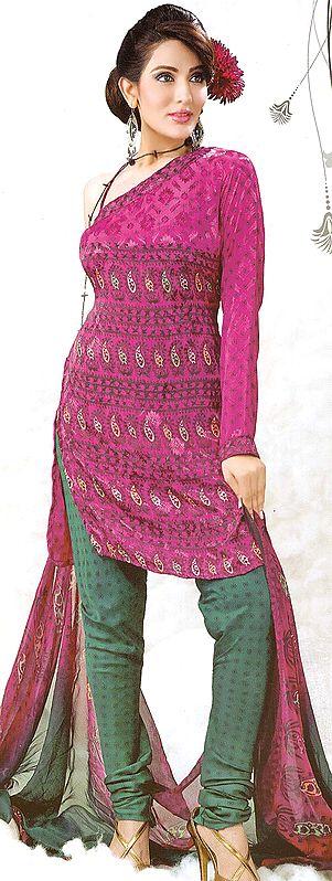 Purple Choodidaar Suit with Self Weave and Printed Paisleys