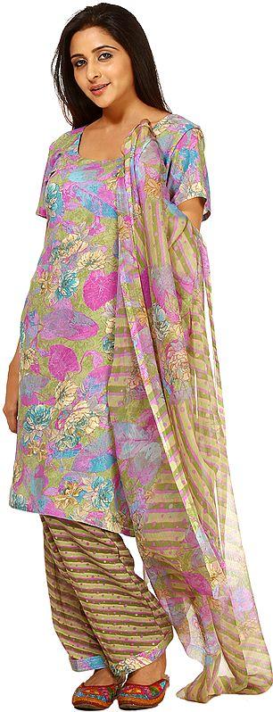 Multi-Color Salwar Kameez Suit with Printed Flowers