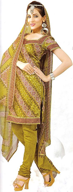 Lizard-Green Choodidaar Printed Suit with Self Weave