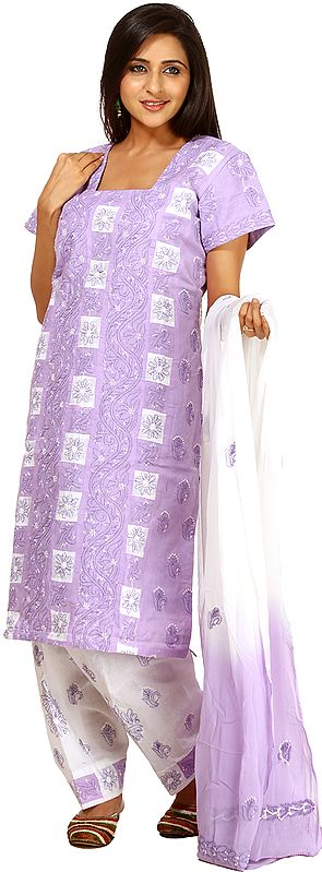 Viola Salwar Kameez with All-Over Lukhnavi Chikan Embroidery