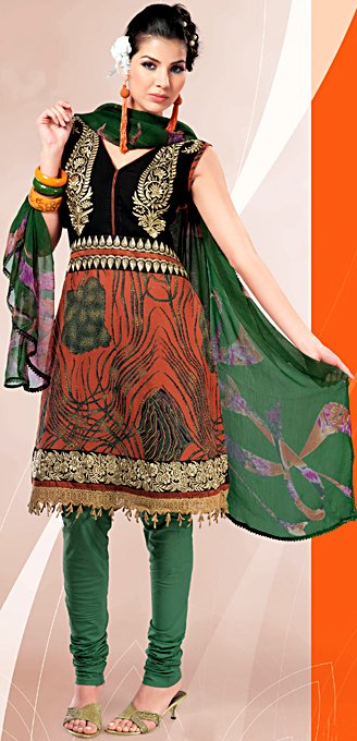 Rust and Green Choodidaar Printed Suit with Crochet Border and Crewel Embroidery