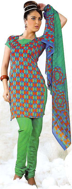 Tri-Color Choodidaar Printed Suit with Self Weave