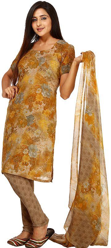 Mustard Salwar Kameez Suit with Printed Flowers