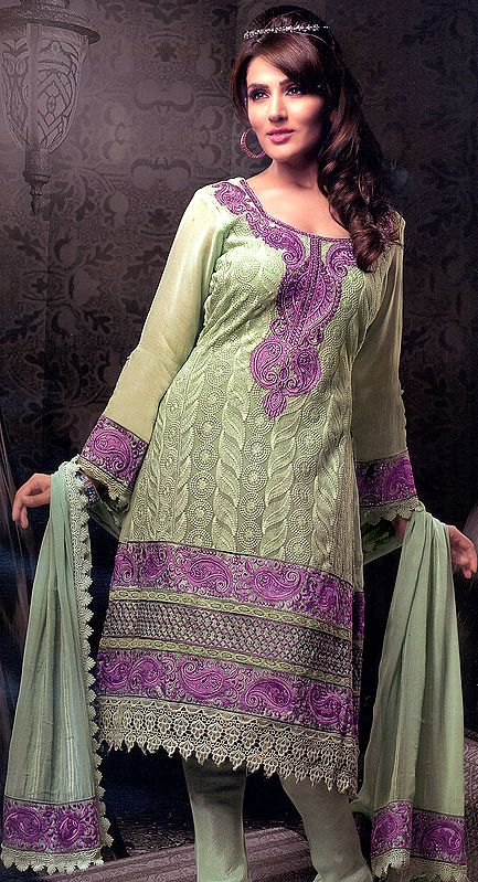 Mint-Green Designer Choodidaar Kameez Suit with Self-Colored Embroidery All-Over and Crochet Border