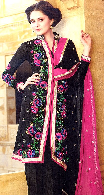 Jet-Black Parallel Suit with Embroidered Flowers and Sequins