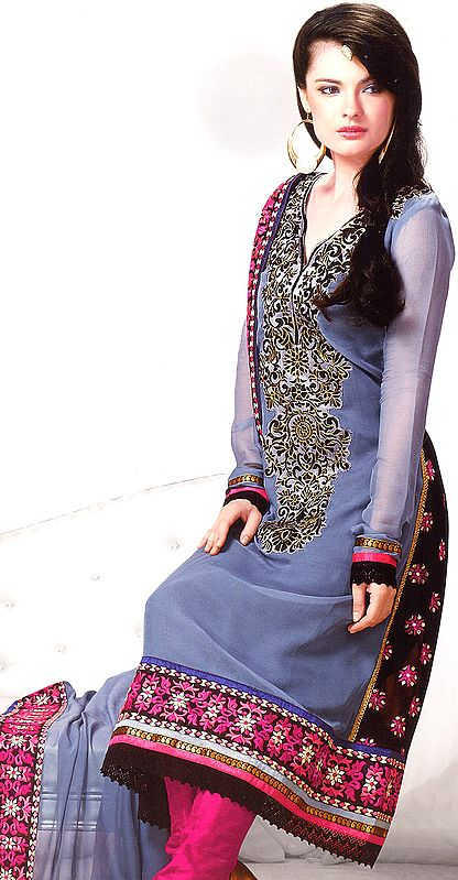 Gray Chudidar Suit with Metallic Thread Embroidery on Neck and Patch Border
