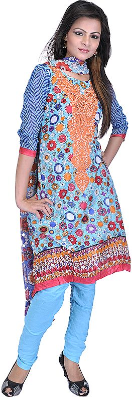 River-Blue Chudidar Kameez Suit with Geometric Print All-Over