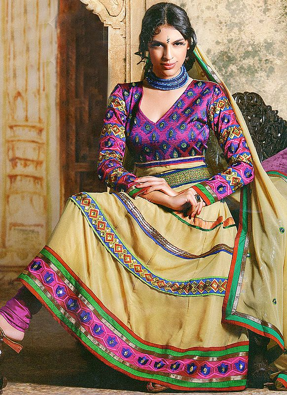 Fall-Leaf Anarkali Kameez Suit with Thread Weave on Neck and Patch Work