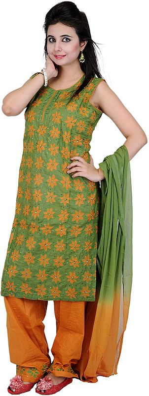 Turf-Green and Mustard Salwar Kameez with Embroidered Flowers and Sequins