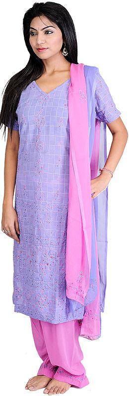 Jacaranda-Blue Salwar Kameez Suit with Lukhnavi Chikan Embroidery and Sequins