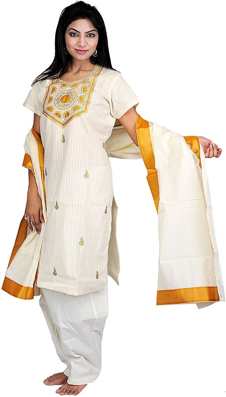 Ivory Kasavu Kathakali Salwar Kameez Suit with Metallic Thread Embroidery