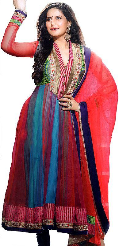River-Blue and Red Anarkali Choodidaar Kameez Suit with Velvet Patch Border
