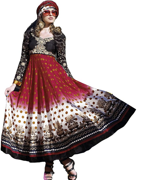 Designer Printed Chudidar Suit with Embroidered Flowers and Flaired Kameez