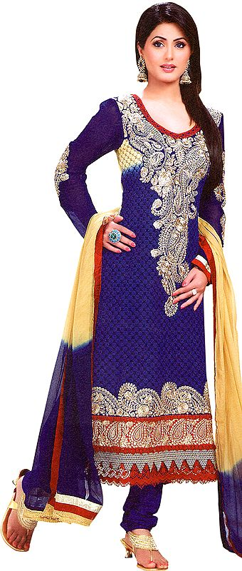 Twilight-Blue Chudidar Kameez Suit with Floral Booties and Giant Paisley Patch
