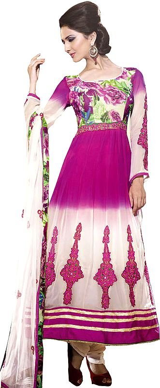 Cloud-Cream and Pink Anarkali Suit with Embroidered Patches and Floral Print