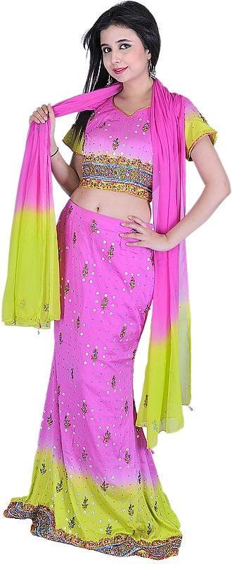 Pink and Green Bridal Lehenga Choli with Beadwork and Sequins